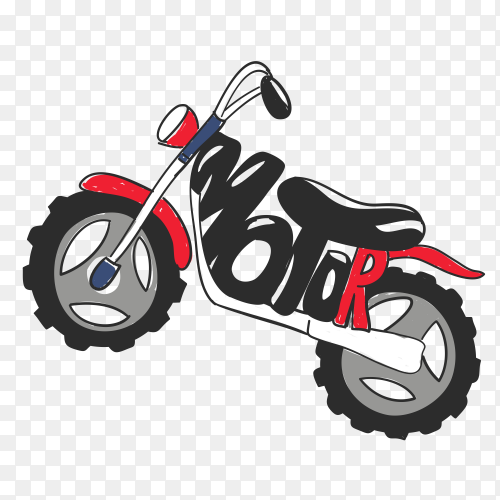 Typography slogan with motorcycle on transparent background PNG