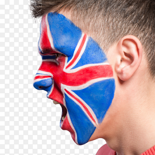 UK flag painted on man's face on transparent PNG