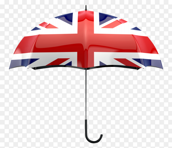 UK flag shaped on an umbrella on transparent PNG