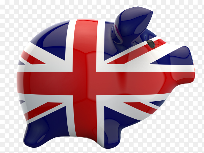 UK flag shaped on piggy bank vector PNG