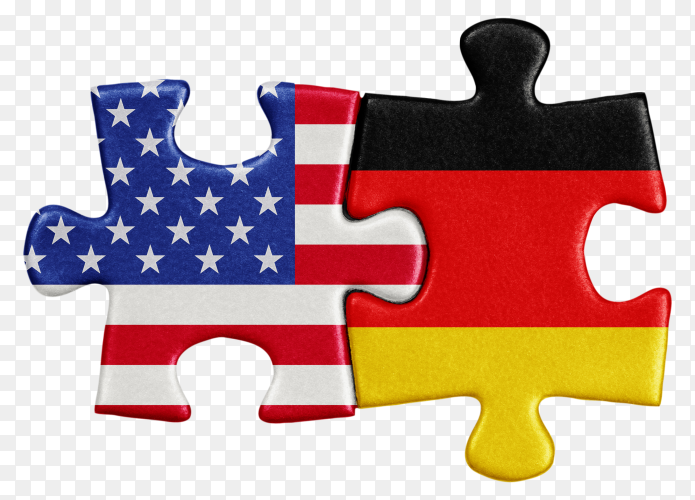 USA German Flags shaped on puzzle clipart PNG