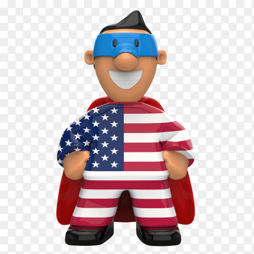 USA flag shaped on super hero on transparent background PNG