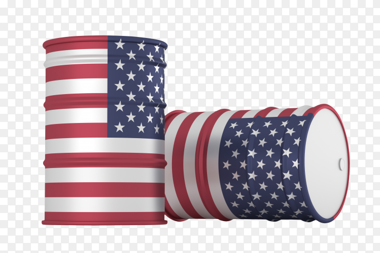 USA oil styled flag barrels isolated clipart PNG
