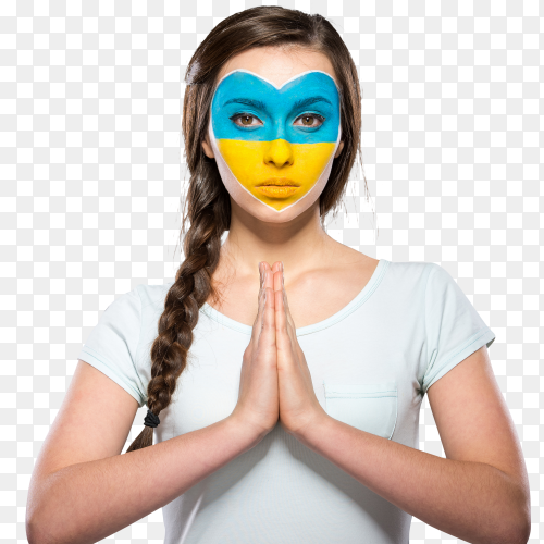 Ukraine flag painted on woman face premuim Images PNG