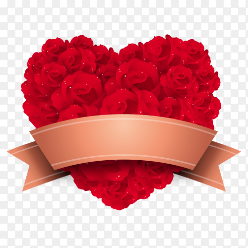 Valentine red roses on transparent PNG