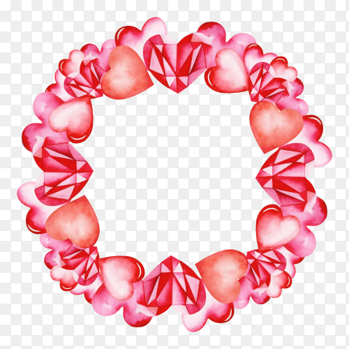 Valentine watercolor wreath Clipart PNG