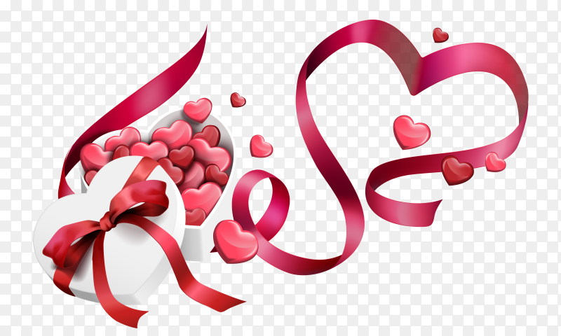Valentines day colorful hearts with gift Premium Vector PNG