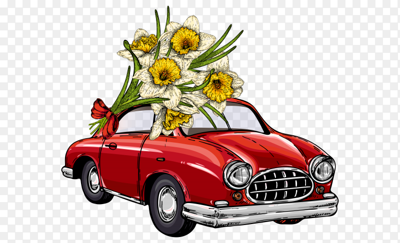 Vector Easter car driving bouquet of daffodils on transparent PNG