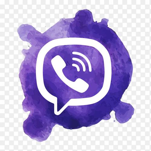 Viber logo watercolor spot clip art PNG