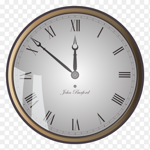 Vintage clock face on transparent background PNG