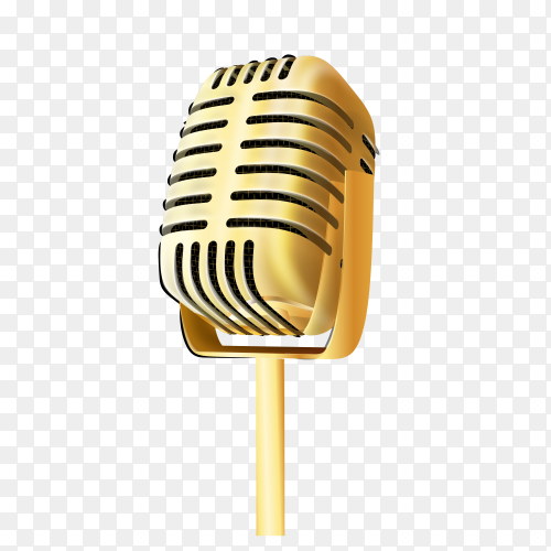 Vintage golden studio microphone  on  transparent PNG
