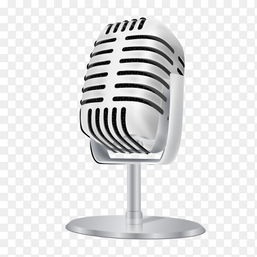 Vintage silver studio microphone  on  transparent PNG
