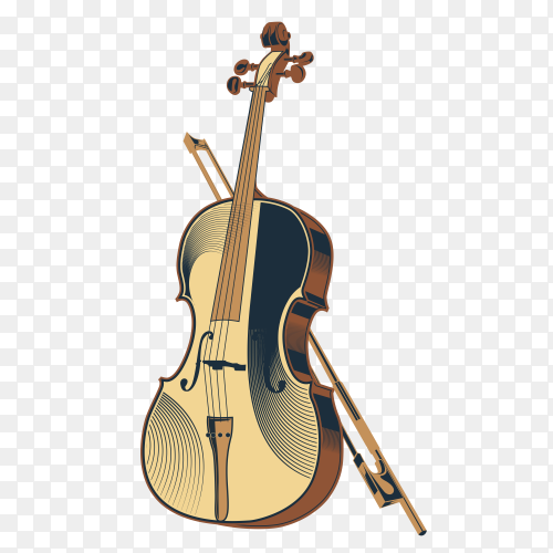 Vintage vector illustration violin classic  on  transparent PNG