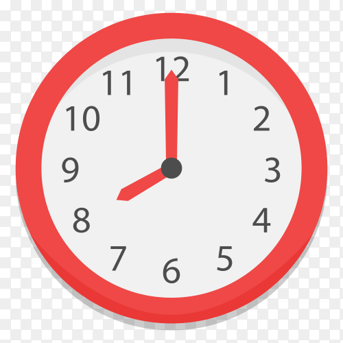 Wall clock with Red and white color Clipart PNG