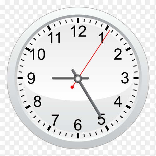 Wall clock with black ana read hands vector PNG