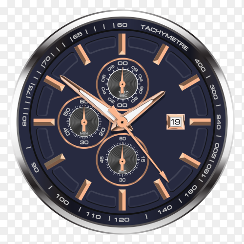 Watch clock chronograph stainless steel copper vector PNG