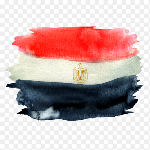 Watercolor Egyptian flag vector PNG