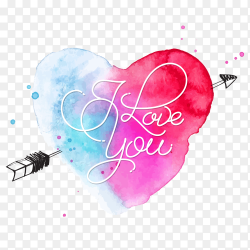 Watercolor heart lettering i love you vector PNG