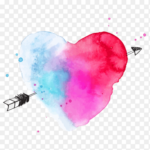 Watercolor heart on transparent PNG