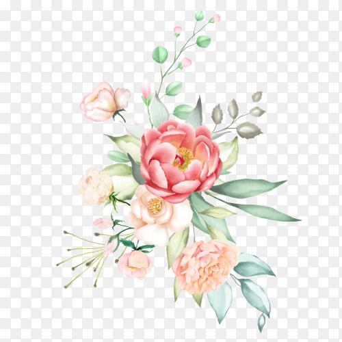 Watercolor pink flower bouquet collection Premium Vector PNG