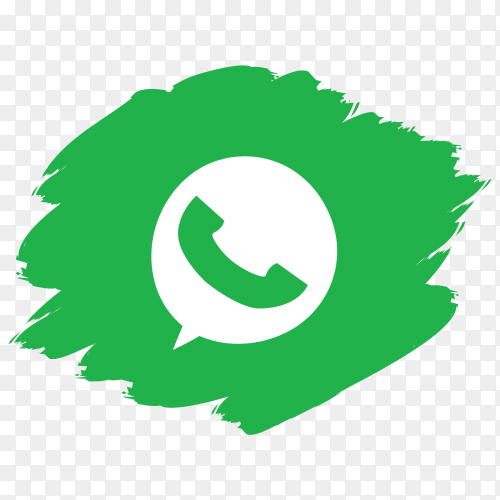 Whatsapp logo with brush drawn clip art PNG