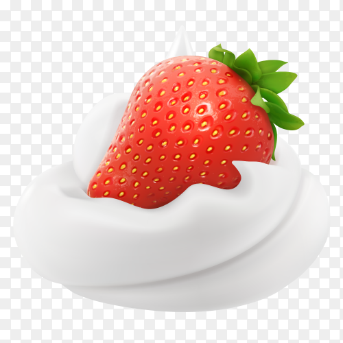 Whipped Cream with strawberrie vector PNG