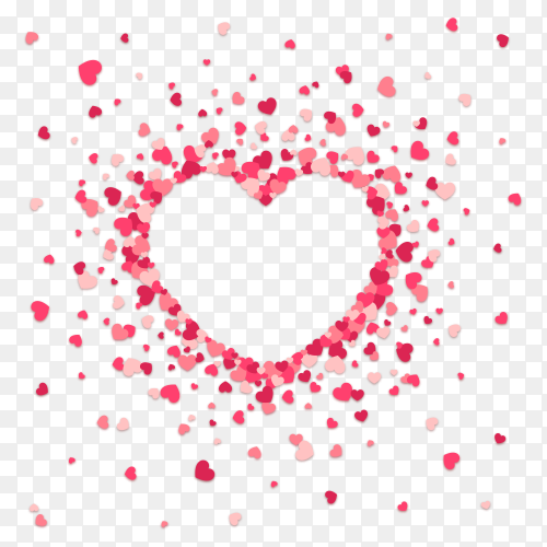 White heart surrounded with red hearts vector PNG