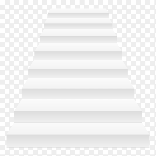 White stair template front view 3RD isolated vector illustration with transparent PNG