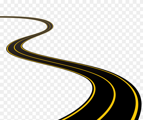 Winding road on transparent background PNG