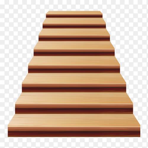 Wooden Staircase  Realistic Illustration with transparent PNG