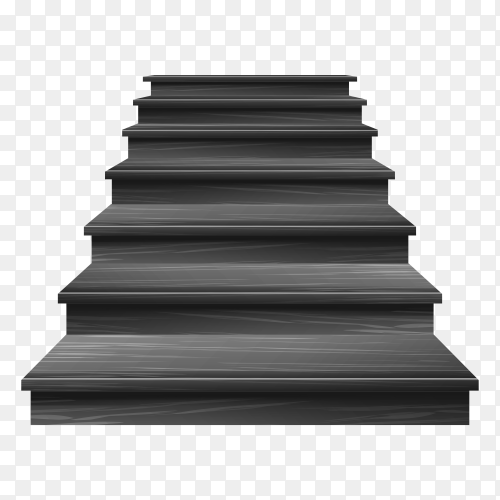 Wooden black stair with transparent PNG