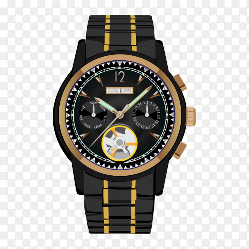 Wrist watch vector illustration with transparent PNG