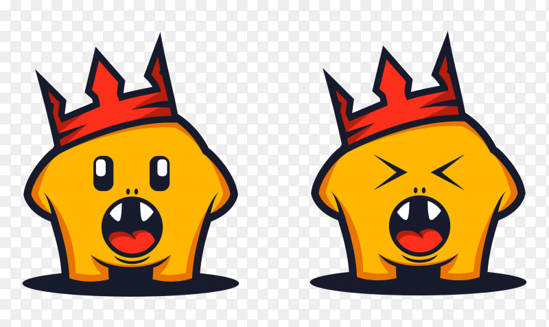 Yellow monsters Cartoon Wearing crown showing their teeth on transparent PNG