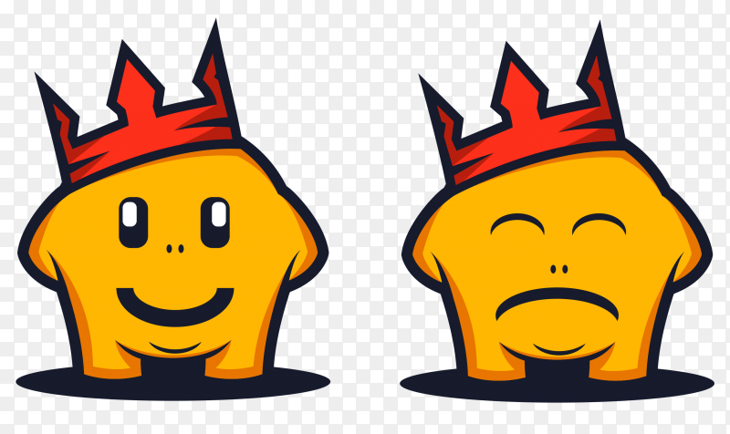 Yellow monsters Cartoon Wearing crown with cute faces on transparent PNG