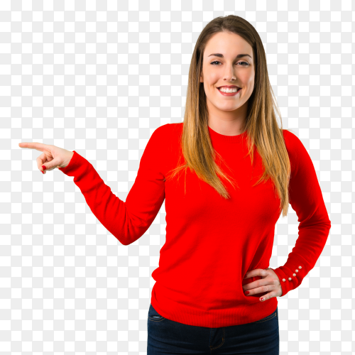 Young blonde woman pointing finger right  side Clipart PNG