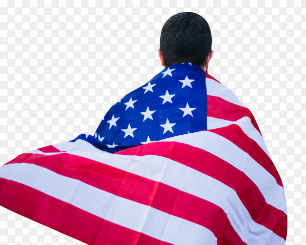 Young boy with an american flag hanging from his back transparent PNG