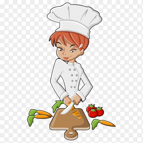 Young female chef cutting vegetables on transparent PNG