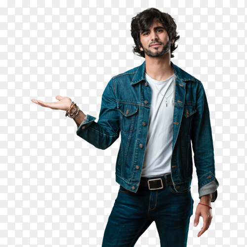 Young handsome man Presenting something on transparent PNG