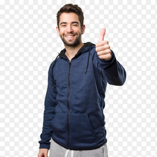 Young man doing okay gesture on transparent background PNG