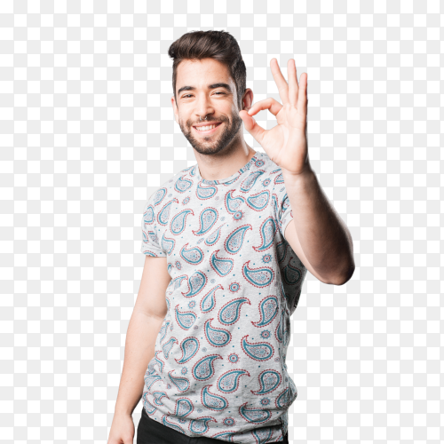 Young man okay gesture on transparent PNG