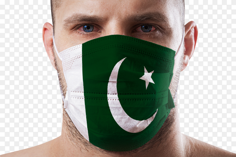 Young man with sore eyes wearing mask of pakistan Images PNG