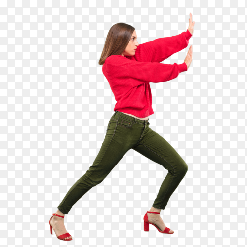 Young pretty woman pushing something Clipart PNG