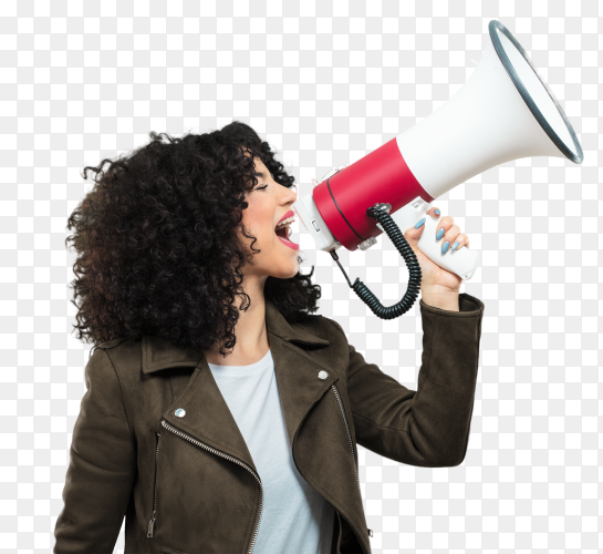 Young woman holding megaphone on transparent PNG