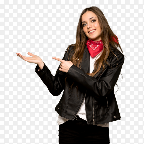 Young woman with leather jacket holding copy space imaginary palm insert ad clipart PNG