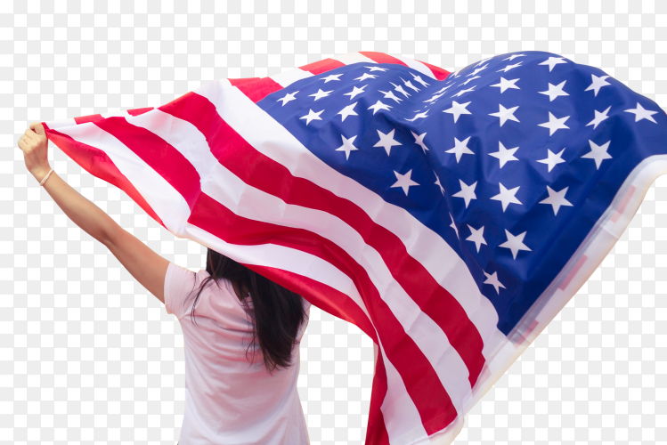 Young women raise national american flag transparent PNG