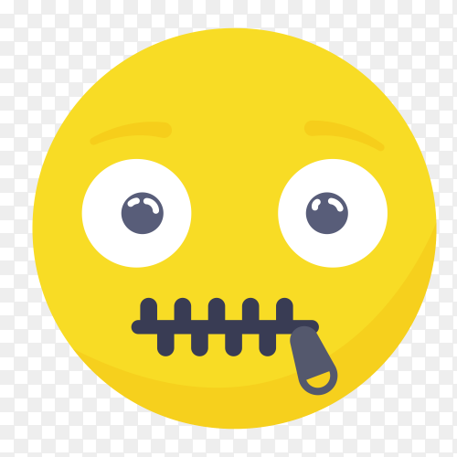 Zipper mouth emoji face Clipart PNG