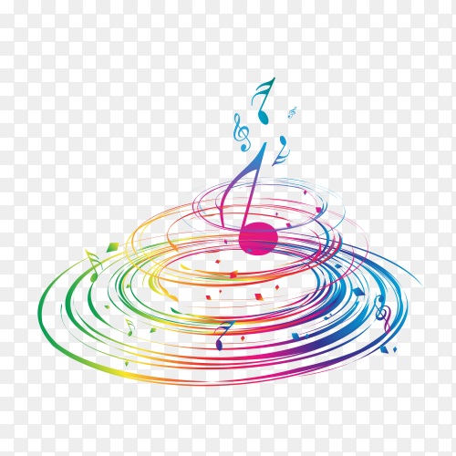 Colorful music notes  on  transparent background PNG