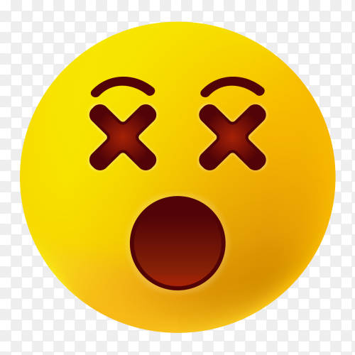 face with open mouth emoji on transparent background PNG