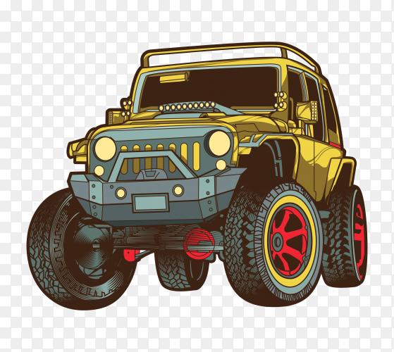 Off road jeep illustration on transparent background PNG