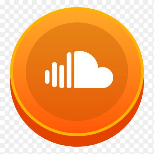 realistic Soundcloud logo social network  vector PNG